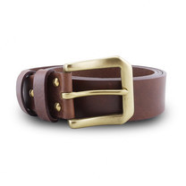 Brown Stone เข็มขัดหนังแท้รุ่น Milano Tan Belt Solid Brass PAM Buckle Size 39