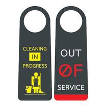 Robin ป้ายแขวนประตู 2ด้าน CLEANING IN PROGRESS / OUT OF SERVICE (แพ็ก 3 ชิ้น)