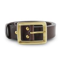 Brown Stone เข็มขัดหนังแท้รุ่น Milano Dark Brown Narrow Belt Solid Brass Rectangle Buckle Size 33