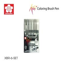 Sakura ชุดปากกาพู่กัน Koi Coloring Brush Pen 6 ด้าม โทนสีเทา