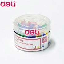 Deli 0042 หมุดสีปักกระดาษ 23 มม. คละสี (80 ตัว/กระปุก)