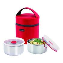 Rocket ชุดกล่องอาหาร 12 ซม. 2 ชิ้น พร้อมกระเป๋าสีแดง