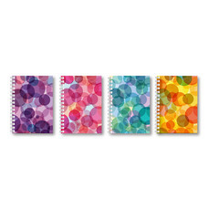 Quality สมุดสันห่วง A5 ลาย Stripe/Bubble คละสี คละลาย (แพ็ก 4 เล่ม)