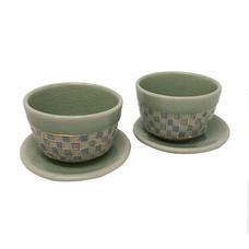 ChiangMai Celadon ชุดแก้วน้ำชา ศิลาดลโมเสค พร้อมจานรองแบบคู่