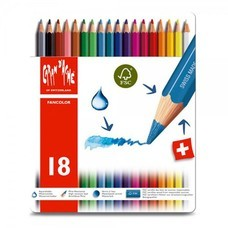 Caran D'Ache สีไม้ระบายน้ำ Fancolor 18 สี กล่องโลหะ