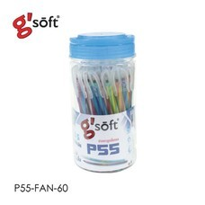 G'Soft ปากกาลูกลื่นเจล P55-Fan หมึกน้ำเงิน 0.5 มม. (60 ด้าม)