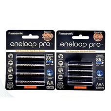 eneloop Pro Rechargeable Battery ถ่านชาร์จ AA x 4ชิ้น AAA x 4ชิ้น - Black รุ่น BK-3HCCE/4BT + BK-4HCCE/4BT (Black)