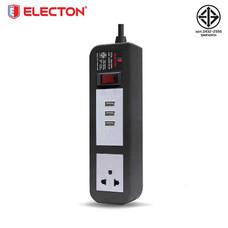 ELECTON ชุดสายพ่วง ปลั๊กไฟ คุณภาพ A มอก. 1 เต้า 1 สวิตช์ 5 เมตร 3 USB 10A รุ่น EP-A105U3 สีดำ