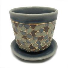 ChiangMai Celadon แก้วน้ำชา ศิลาดลโมเสค พร้อมจานรอง