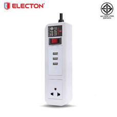 ELECTON ชุดสายพ่วง ปลั๊กไฟ คุณภาพ A มอก. 1 เต้า 1 สวิตช์ 5 เมตร 3 USB 10A รุ่น EP-A105U3 สีขาว