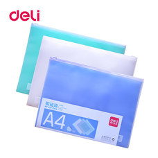 Deli 5588 Transparent PVC Envelope ซองซิปรูดพลาสติกใส A4 (คละสี 1 ชิ้น)