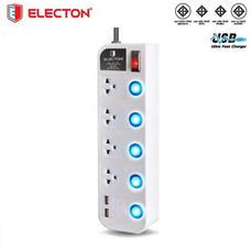 ELECTON สายพ่วง ปลั๊กไฟ มอก. 4 เต้า 5 สวิตช์ 5 เมตร 2 USB 10A รุ่น EP-GS4605U2 สีขาว