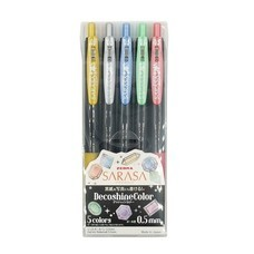 ZEBRA ปากกาเจลสีเมทัลลิค 0.5 มม. Decoshine Color (แพ็ก 5 ด้าม)