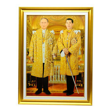 เยี่ยมศิลป์ กรอบรูปสำเร็จภาพโปสเตอร์ในหลวงราชกาลที่ 9 คู่ ในหลวงราชกาลที่ 10 YS-0001