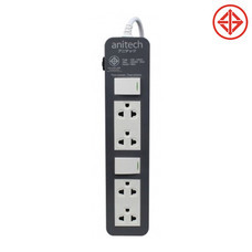 anitech ปลั๊กไฟมาตรฐาน มอก. 4 ช่อง รุ่น H604 เทา