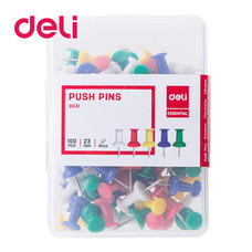 Deli 0031 หมุดสีเสียบกระดาษ (100 ตัว)