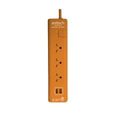 Anitech ปลั๊กไฟ มอก. 3 ช่อง 2 USB 1 สวิตช์ สายยาว 3 ม. รุ่น H5133 สีส้ม