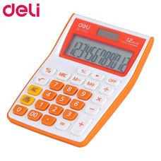 Deli 1122 เครื่องคิดเลขตั้งโต๊ะ 12 หลัก สีขาว/ส้ม