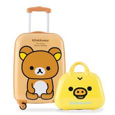 Rilakkuma กระเป๋าเดินทางสกรีนลายริลัคคุมะ ขนาด 20 นิ้ว - สีน้ำตาล (แถมใบเล็กสีเหลือง)