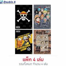 Double A สมุดรายงาน A4 70 แกรม 25 แผ่น คละลาย One Piece Pirate (แพ็ก 4 เล่ม)