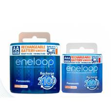 eneloop Panasonic Battery recharge ถ่านชาร์จ AA x 4 + AAA x 4 ชิ้น - White รุ่น BK-3MCCE/4NT + BK-4MCCE/4NT