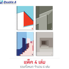Double A สมุดสันห่วง Monthly Planner A5 ไม่มีเส้น คละลาย Structure (แพ็ก 4 เล่ม)