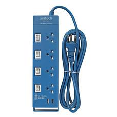 Anitech ปลั๊กไฟ มอก. 4 ช่อง 4 สวิตช์ 2 USB สาย 3 เมตร รุ่น H5234 สี BL