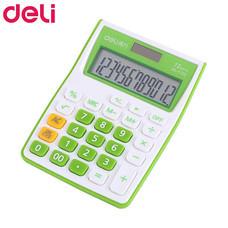 Deli 1122 เครื่องคิดเลขตั้งโต๊ะ 12 หลัก สีขาว/เขียว
