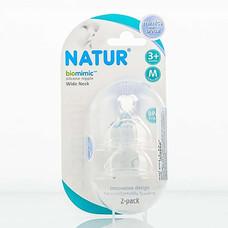 NATUR จุกนม biomimic ปากกว้าง M แพ็ก 2 (6 รู)