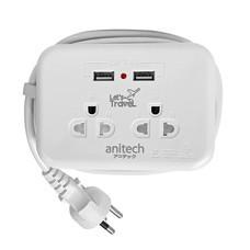 Anitech ปลั๊กไฟ มอก. แบบพกพา 2 ช่อง 2 USB รุ่น H9022