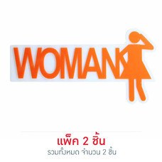 Robin ป้ายอะคริลิค WOMAN ขนาด 19 x 9.6 ซม. (แพ็ก 2 ชิ้น) สีส้ม