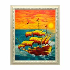 เยี่ยมศิลป์ กรอบรูปสำเร็จพร้อมภาพ เรือสำเภาจีน-การค้าการเงิน YS-0022