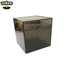 UDEE กล่องทรงลูกบาศก์ฝาบานพับ สีชา