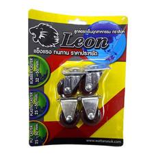 LEON ล้อ PU ตราสิงห์แป้นหมุน/แป้นตาย 32 มม. (แบบแพ็ก)
