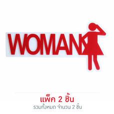 Robin ป้ายอะคริลิค WOMAN ขนาด 19 x 9.6 ซม. (แพ็ก 2 ชิ้น) สีแดง
