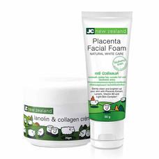JC new zealand Lanoline&Collagen Creme 20 ก. + Placenta Facial Foam 50 ก. (แพ็ก 2)