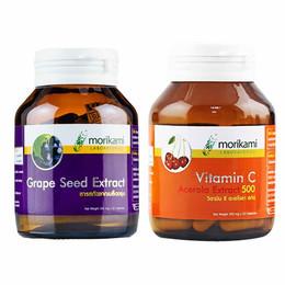Morikami เซ็ทประกอบด้วย Grape Seed Extract 250 มก. บรรจุ 30 แคปซูล และ Vitamin C - Acerola บรรจุ 30 แคปซูล