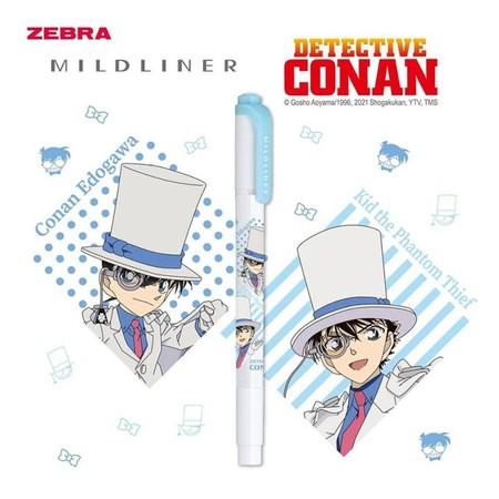 ZEBRA MILDLINER Detective Conan ปากกาเน้นข้อความ 2 หัว (แพ็ก 10 ด้าม) สี Mild Blue