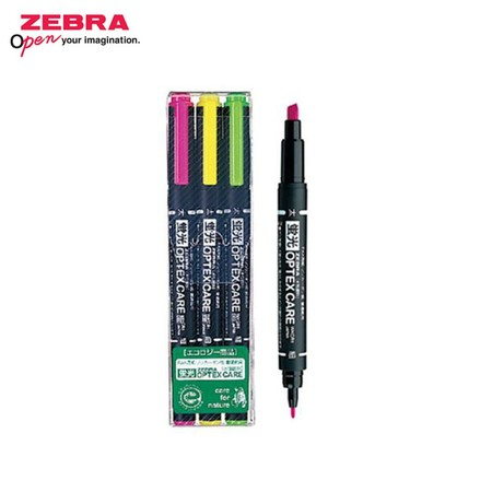 Zebra Optex Care ปากกาเน้นข้อความ 2 หัว WKCR1-3C (แพ็ก 3 ด้าม)