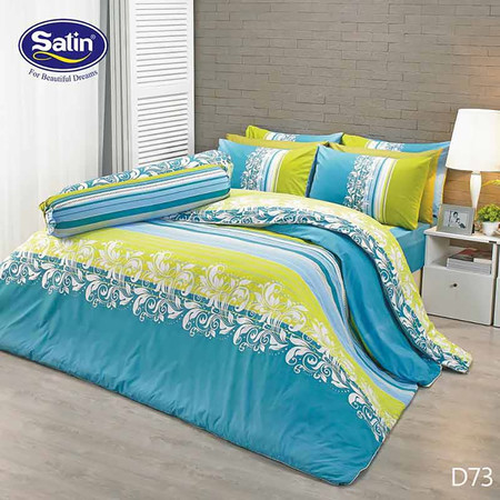 Satin ผ้านวม + ผ้าปูที่นอน ลาย D73 5 ฟุต