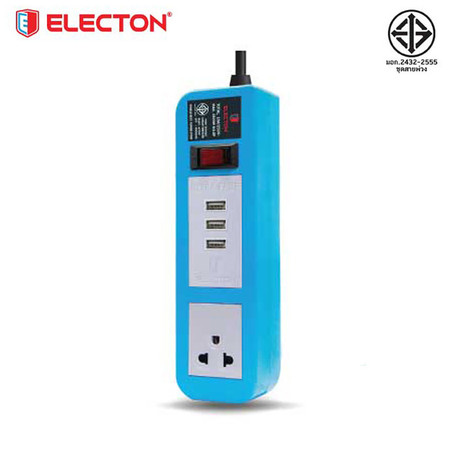 ELECTON ชุดสายพ่วง ปลั๊กไฟ คุณภาพ A มอก. 1 เต้า 1 สวิตช์ 2 เมตร 3 USB 10A รุ่น EP-A102U3 สีฟ้า
