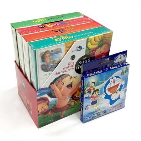Boxset บัตรคำศัพท์ประกอบภาพ ชุด รอบรู้คำศัพท์ 2 ภาษา แถมสีเทียน