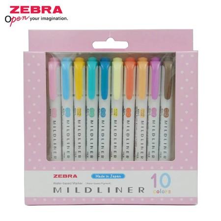 ZEBRA MILDLINER ปากกาเน้นข้อความ 2 หัว 10 สี SET1 (แพ็ก 10 ด้าม)