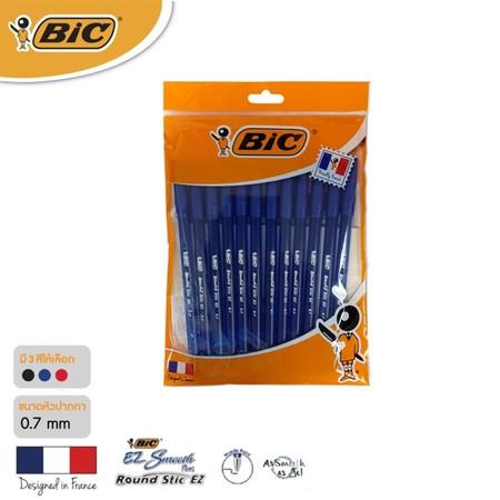 BIC ปากกาลูกลื่น Round Stic EZ 0.7 มม. (แพ็ก 12 ด้าม) สีน้ำเงิน