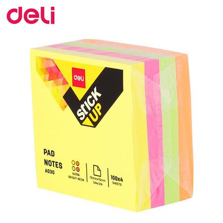 Deli A03003 กระดาษโน๊ตกาว 3 x 3 นิ้ว 400 แผ่นต่อแพ็ก (คละสี)