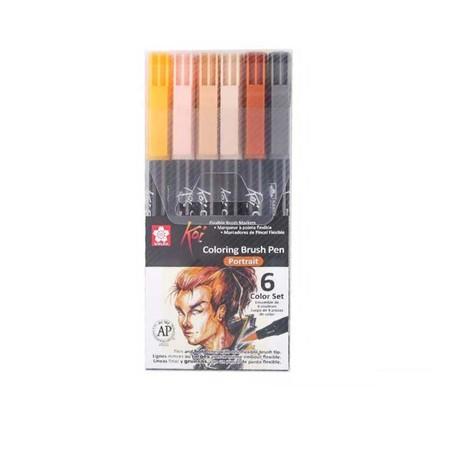 Sakura ชุดปากกาพู่กัน Koi 6 สี โทนสี Portrait
