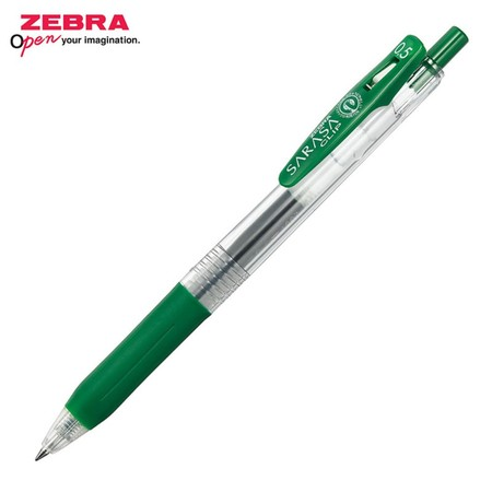 Zebra ปากกาหมึกเจล Sarasa Clip 0.5 มม. JJ15-VIR หมึกสีเขียวเวอร์ริเดียน (12 ด้าม/กล่อง)