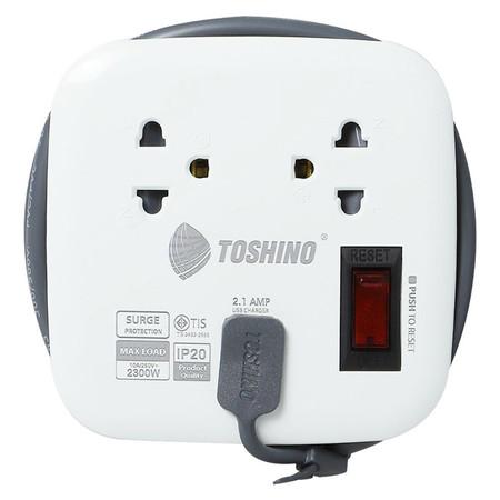 Toshino รางปลั๊ก มอก. 2 ช่อง + USB ป้องกันไฟกระชาก สายยาว 1 เมตร XP-1M WH