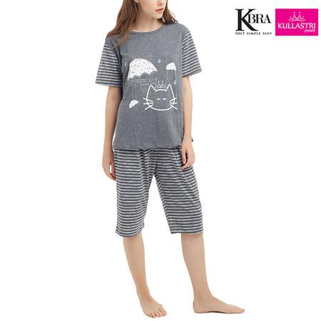 Kullastri KBra ชุดนอนผ้า Top Dye ใส่เป็นชุดลำลองได้ รุ่น SNTSH6PGY สีเทา