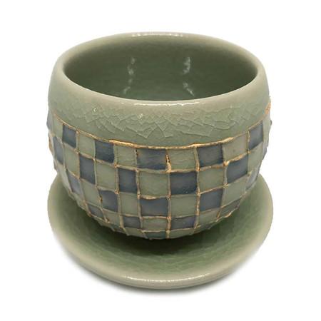 ChiangMai Celadon ชุดแก้วน้ำชาญี่ปุ่น ศิลาดลโมเสค พร้อมจานรอง